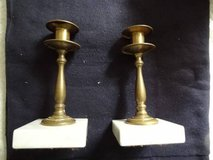 vintage brass candlesticks/marble base in Conroe, Texas